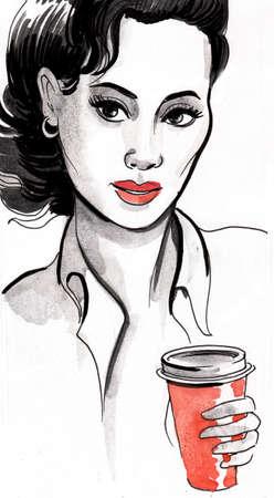 Pretty woman drinking coffee.