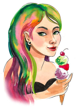 Pretty girl with colorful hair eating an ice cream.