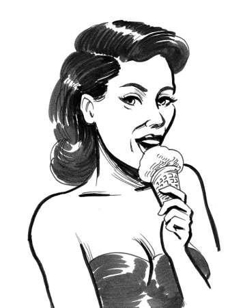 Pretty woman eating an ice cream.