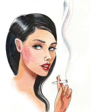 Pretty woman smoking a marijuana joint.