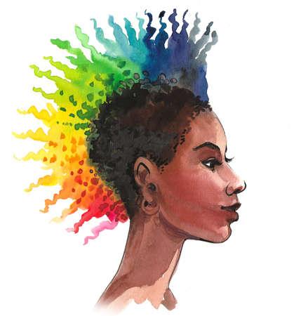 Pretty woman with a rainbow colored hair. Stok Fotoğraf