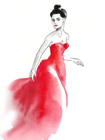 Pretty lady in red dress.
