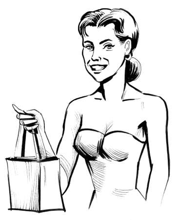 Pretty lady with a shopping bag. Ink black and white drawing Stok Fotoğraf