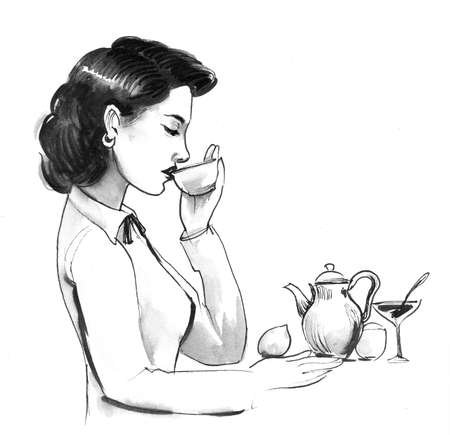 Pretty lady drinking a tea. Ink and watercolor Stok Fotoğraf