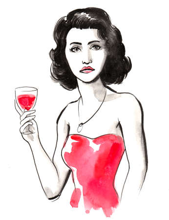 Beautiful brunette woman drinking a glass of red wine. Ink and watercolor Stok Fotoğraf