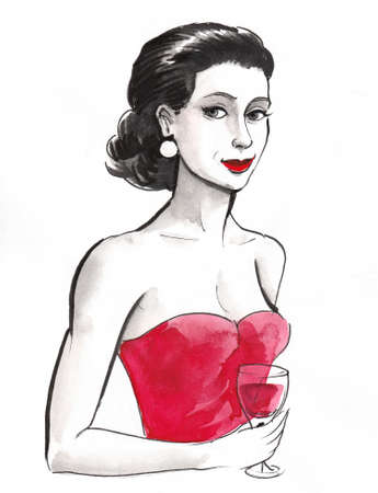 Pretty woman in red dress with a glass of red wine