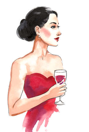 Beautiful woman in red dress with a glass of red wine Stok Fotoğraf