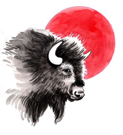 Bison head and red sun. Ink and watercolor illustration