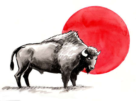 Standing bison with red sun. Ink and watercolor illustration