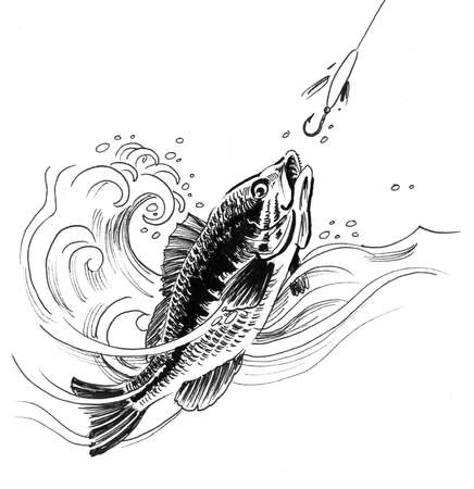 Fish biting a bait on a fishing hook. Ink black and white drawing 版權商用圖片