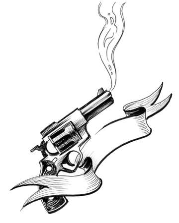 Smoking revolver gun. Ink black and white drawing