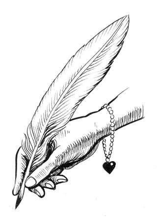 Main de femme tenant une plume d'oie. Dessin à l'encre noir et blanc