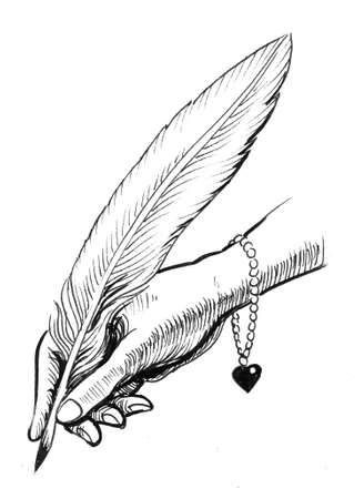 Woman hand holding a quill pen. Ink black and white drawing