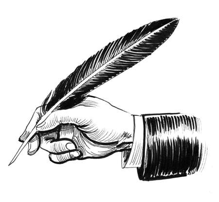 Hand holding a quill pen. Ink black and white drawing