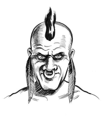 Savage head. Ink black and white drawing
