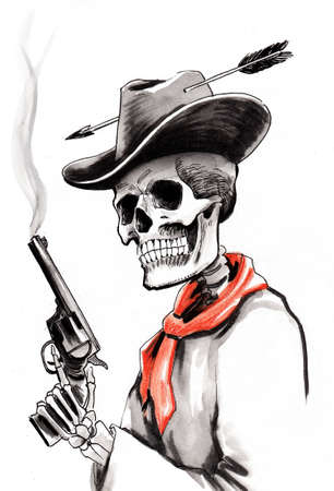 Dead cowboy with a smoking gun, Ink and watercolor illustration