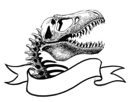T-Rex skull and banner. Ink black and white drawing