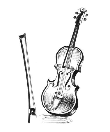 Violin instrument. Ink black and white drawing