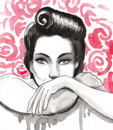 Pretty woman and rose flowers. Ink and watercolor illustration