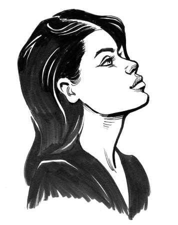 Beautiful young woman. Ink black and white drawing