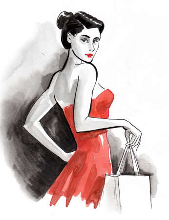 Pretty woman in red dress with a shopping bag