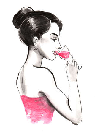 Pretty woman drinking a glass of red wine Imagens