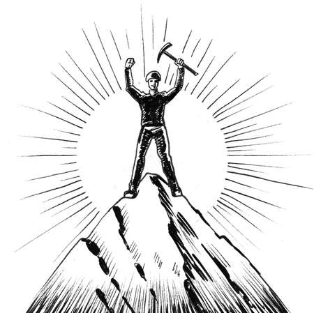 Mountain climber on the mountain peak. Ink black and white drawing Фото со стока