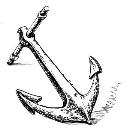 Old anchor. Ink black and white drawing