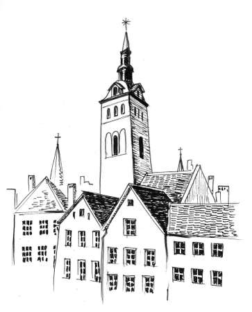 Ancient European city. Ink black and white drawing Фото со стока