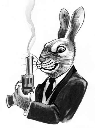 Rabbit with a smoking gun. Ink and watercolor drawing