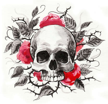Skull and red roses. Ink and watercolor illustration Stock fotó