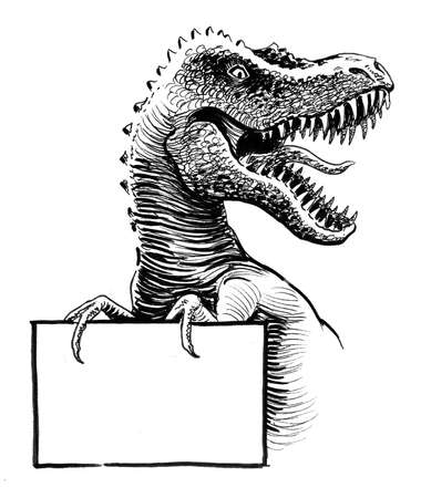 Tiranasaurus Rex holding a blank sign. Ink black and white drawing