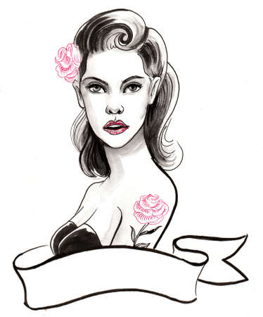 Pretty woman with a rose tattoo. Ink and watercolor illustration
