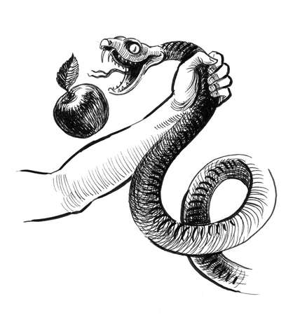 Hand struggling with a snake with apple. Inkblack and white drawing Фото со стока