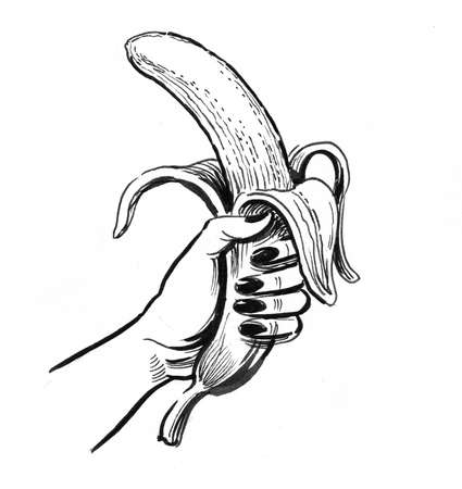 Hand holding a peeled banana, Ink black and white drawing 版權商用圖片