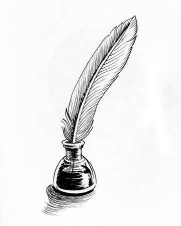 Quill pen and bottle of ink. Ink black and whit edrawing