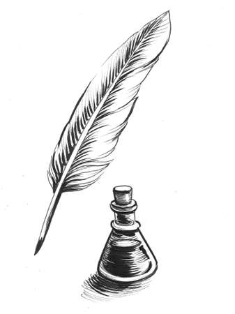 Writing quill feather and bottle of ink. Ink black and white drawing