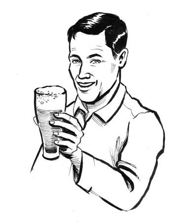 Happy smiling man with a glass of beer. Ink black and white drawing Zdjęcie Seryjne - 137592355