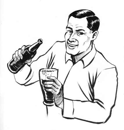 Man pouring beer from the bottle into the glass. Ink black and white drawing