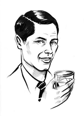 Gentleman with a glass of whiskey. Ink black and white drawing