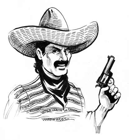 Mexican bandit with a gun. Ink black and white drawing Zdjęcie Seryjne - 137592358