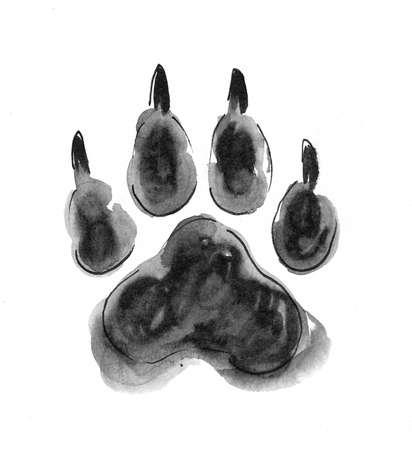 Dog paw print. Ink black and white drawing Zdjęcie Seryjne - 137592366