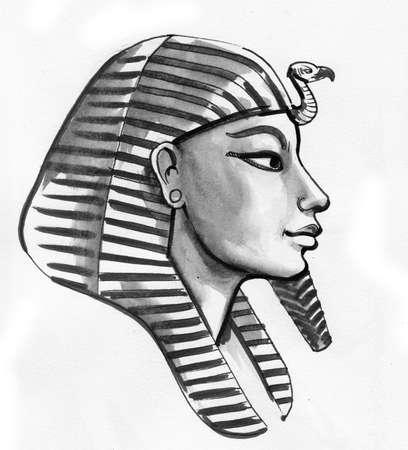 Egyptian pharaon mask. Ink black and white drawing Stock fotó