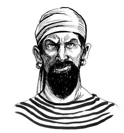 Bearded pirate sailor. Ink black and white drawing Zdjęcie Seryjne - 137592370