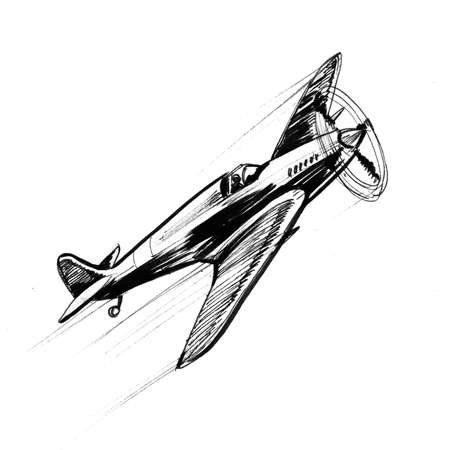 World War two air fighter. Ink black and white drawing