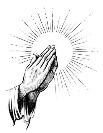 Praying hands. Ink black and white drawing Zdjęcie Seryjne - 137592373