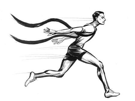 Sprinter runner finnishing. Ink black and white drawing Zdjęcie Seryjne