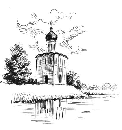 Russina, orthodox church and landscape. Ink black and white drawing 版權商用圖片
