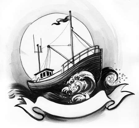 Fishing ship in the stormy sea. Ink black and white drawing Zdjęcie Seryjne
