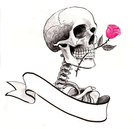Skeleton with a rose flower and blank banner. Ink illustration Zdjęcie Seryjne - 137592460